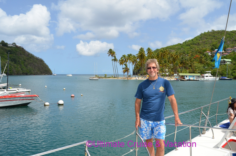 Jay proudly showing off Marigot Bay, St Lucia